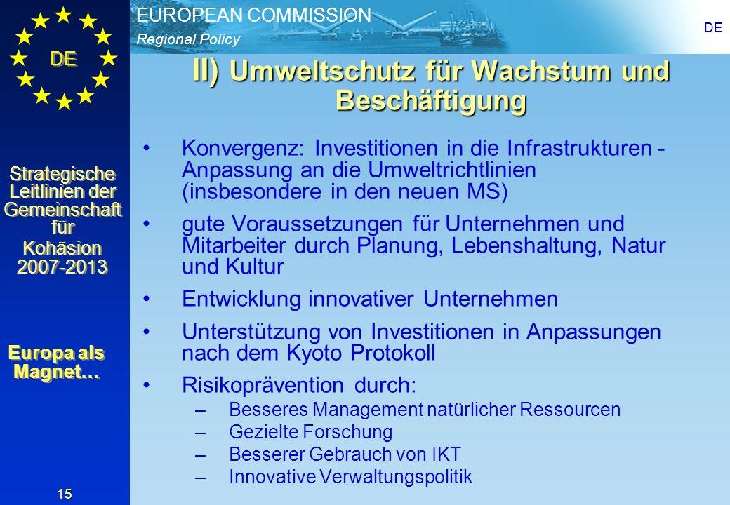 II) Umweltschutz für Wachstum und Beschäftigung