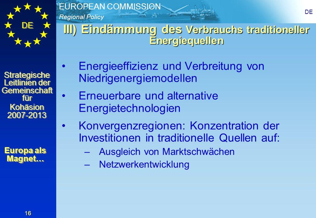 III) Eindämmung des Verbrauchs traditioneller Energiequellen