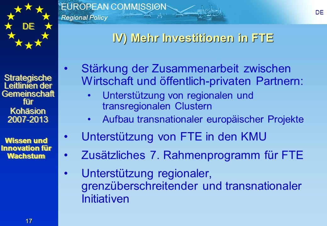 IV) Mehr Investitionen in FTE