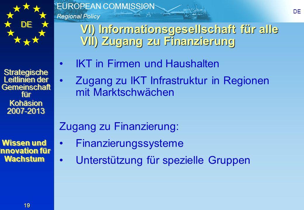 VI) Informationsgesellschaft für alle VII) Zugang zu Finanzierung