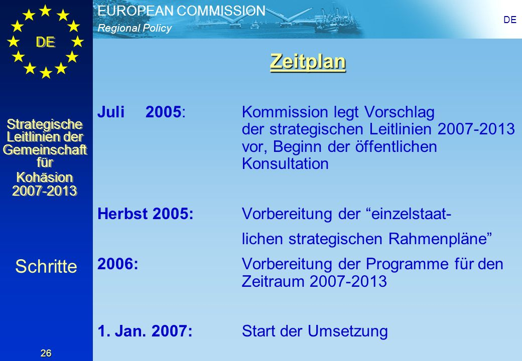 DEZeitplan. Juli 2005: Kommission legt Vorschlag der strategischen Leitlinien 2007-2013 vor, Beginn der öffentlichen Konsultation.