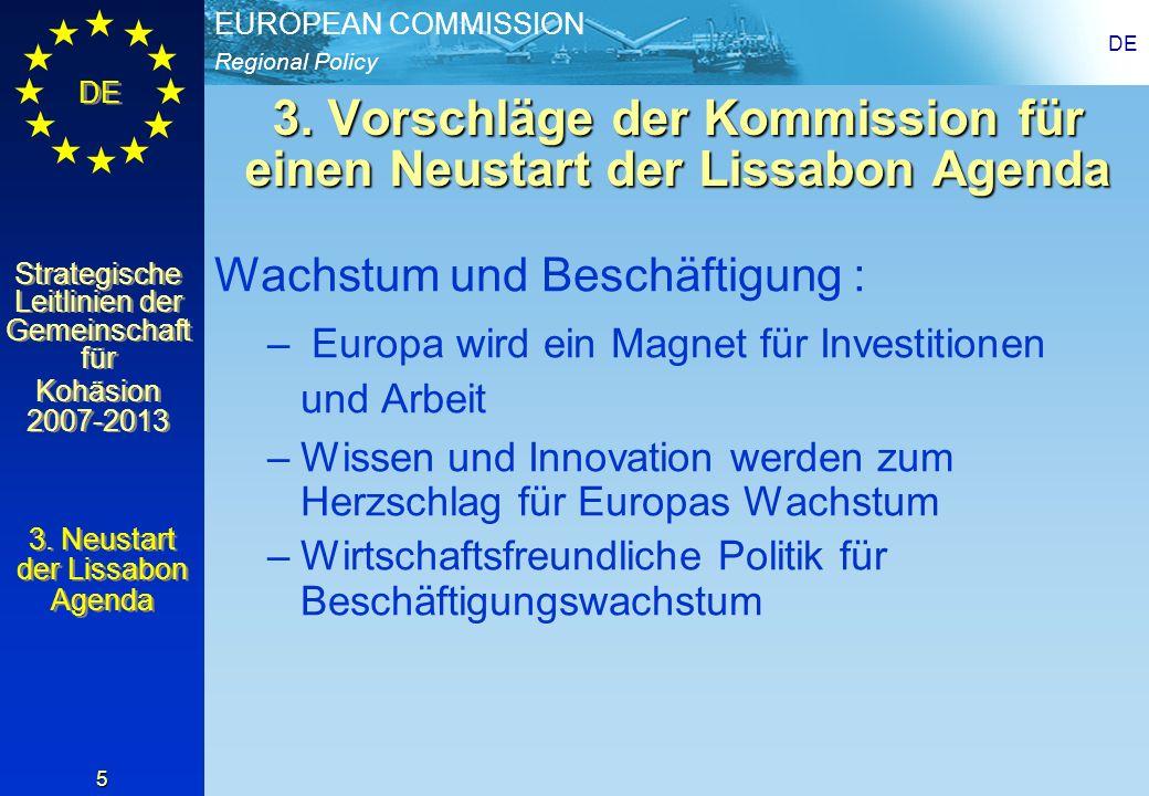 3. Vorschläge der Kommission für einen Neustart der Lissabon Agenda