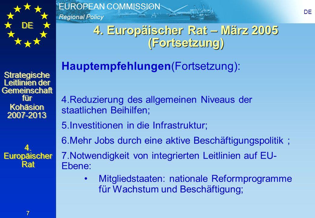 4. Europäischer Rat – März 2005 (Fortsetzung)