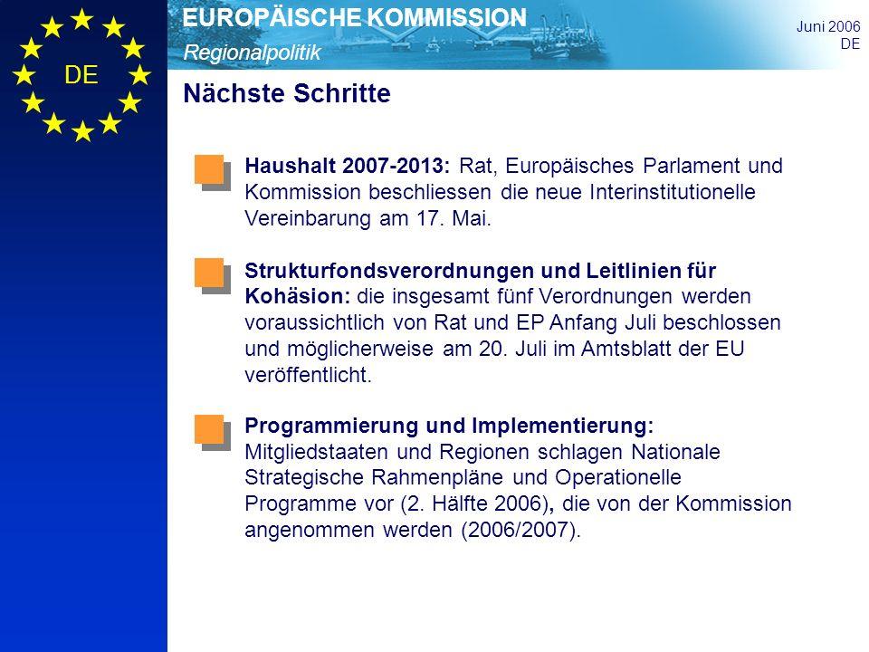 Nächste Schritte Haushalt 2007-2013: Rat, Europäisches Parlament und Kommission beschliessen die neue Interinstitutionelle Vereinbarung am 17. Mai.