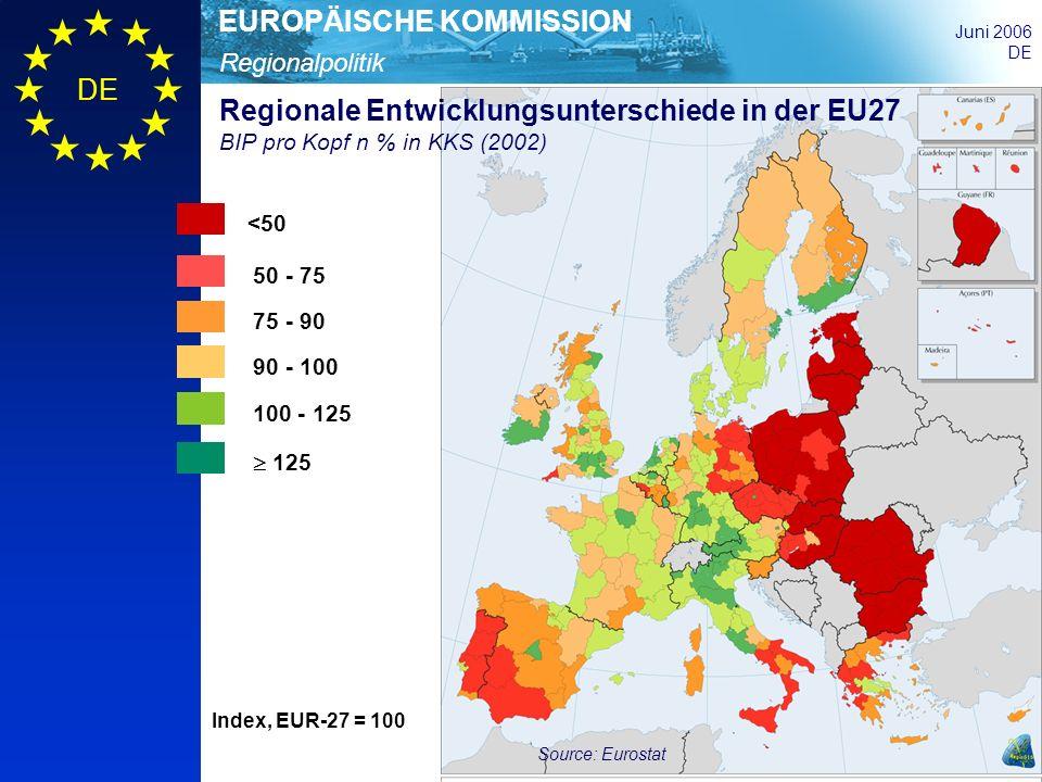Regionale Entwicklungsunterschiede in der EU27