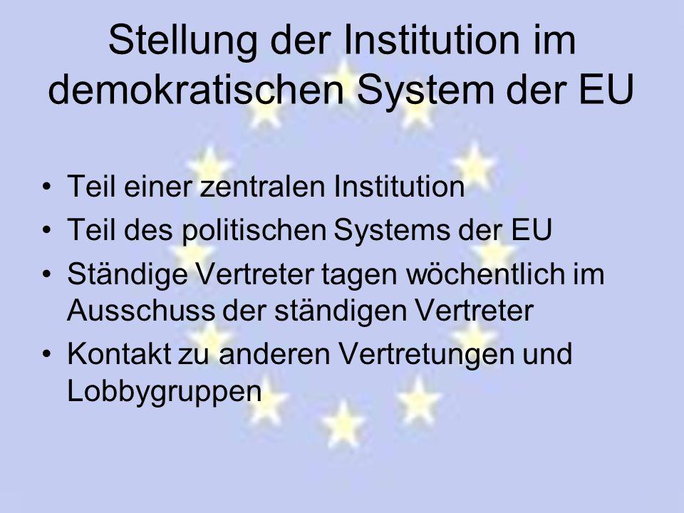 Stellung der Institution im demokratischen System der EU