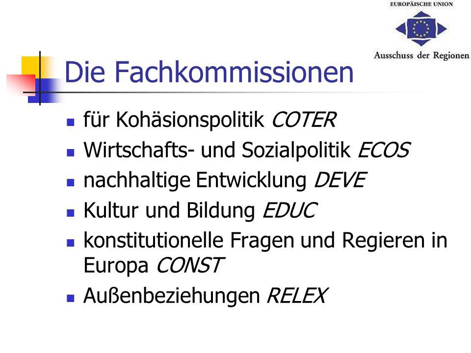 Die Fachkommissionen für Kohäsionspolitik COTER