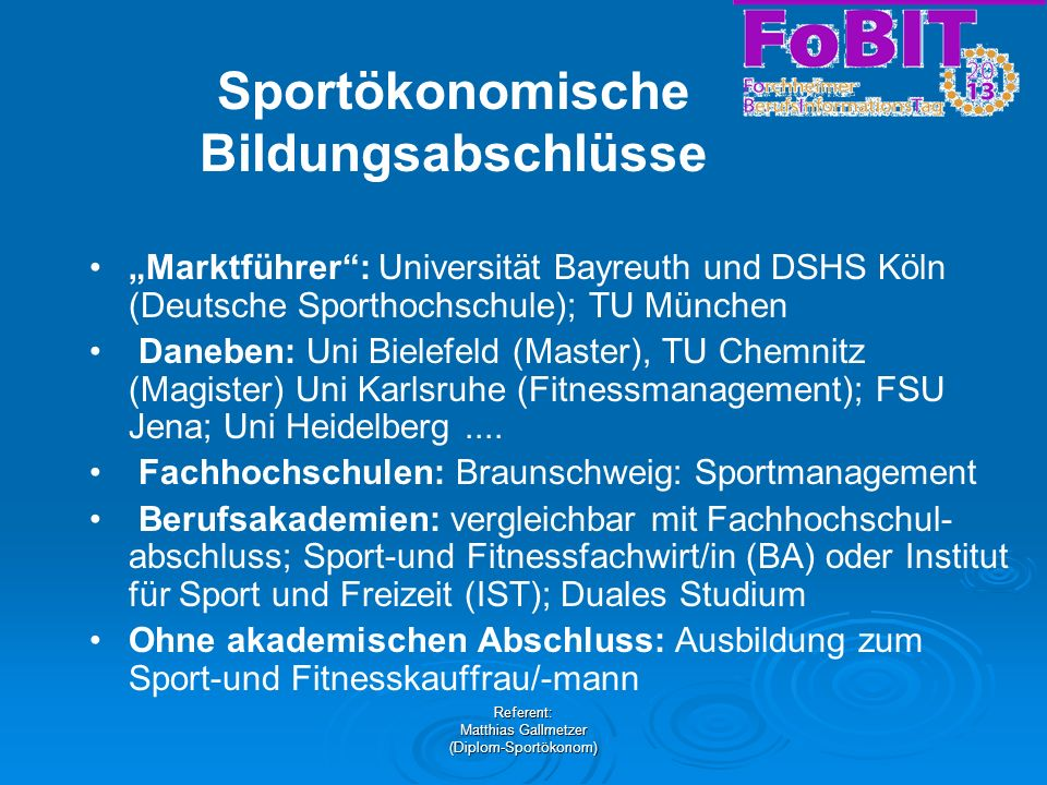 Sportökonomische Bildungsabschlüsse