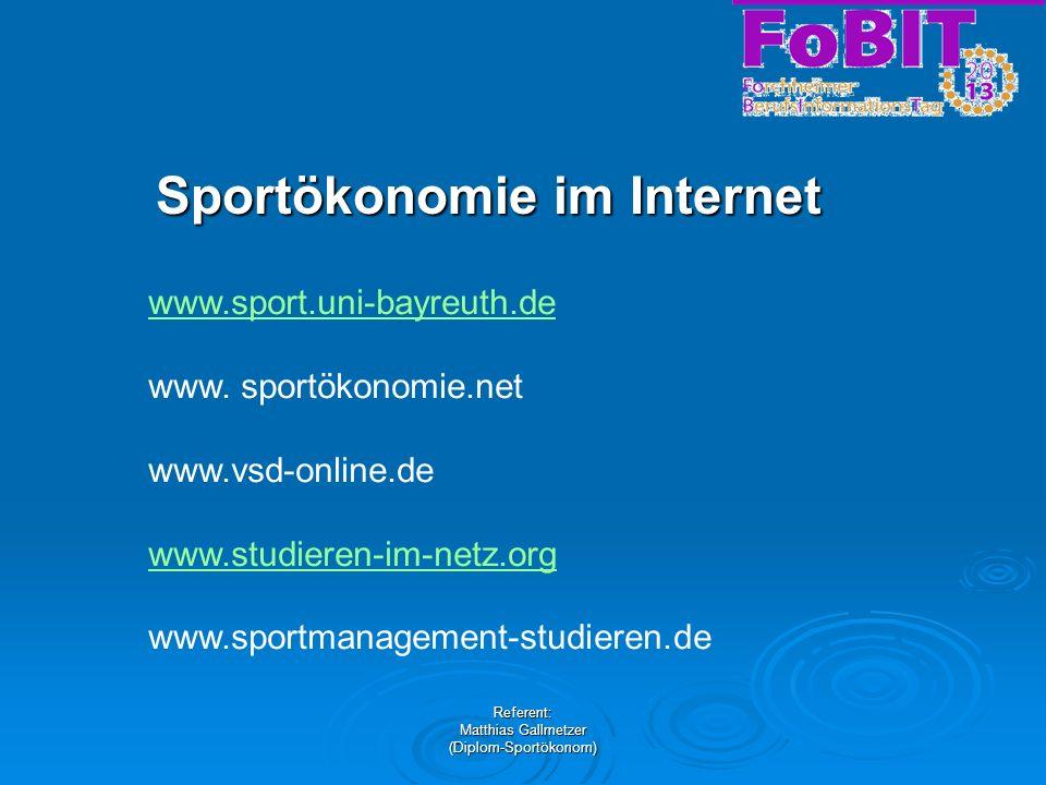Sportökonomie im Internet