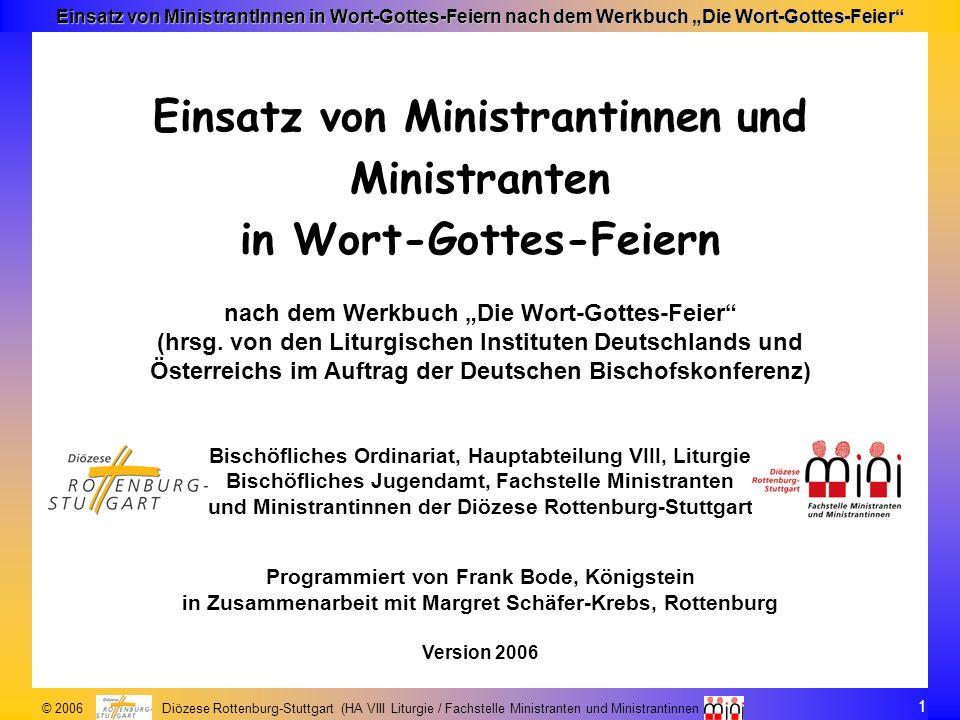 Einsatz von Ministrantinnen und Ministranten in Wort-Gottes-Feiern