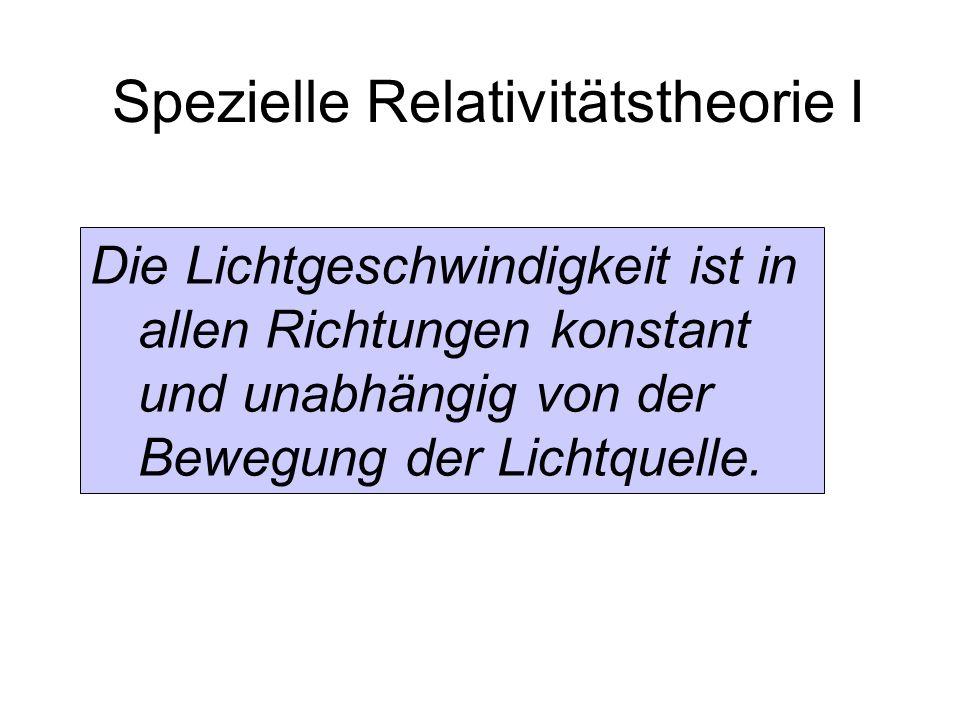 Spezielle Relativitätstheorie I