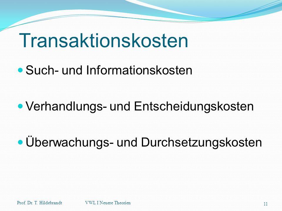 Transaktionskosten Such- und Informationskosten