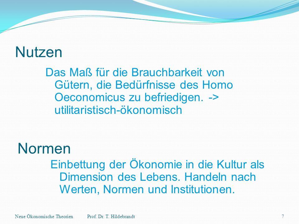Nutzen Das Maß für die Brauchbarkeit von Gütern, die Bedürfnisse des Homo Oeconomicus zu befriedigen. -> utilitaristisch-ökonomisch.