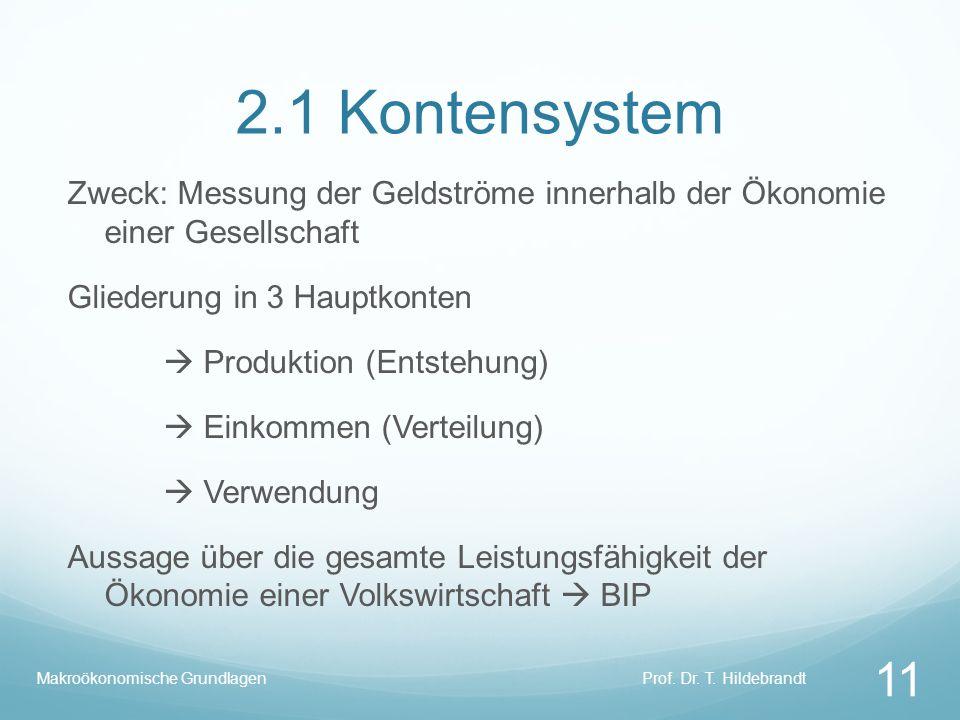 2.1 Kontensystem Zweck: Messung der Geldströme innerhalb der Ökonomie einer Gesellschaft. Gliederung in 3 Hauptkonten.
