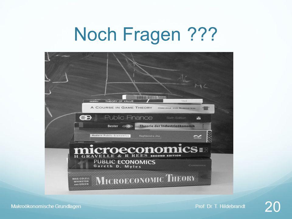 Noch Fragen Makroökonomische Grundlagen Prof. Dr. T. Hildebrandt