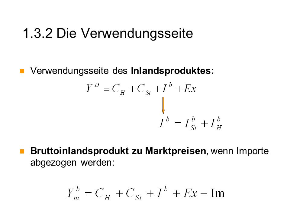 1.3.2 Die Verwendungsseite Verwendungsseite des Inlandsproduktes: