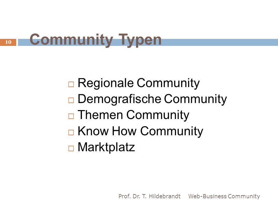 Community Typen Regionale Community Demografische Community