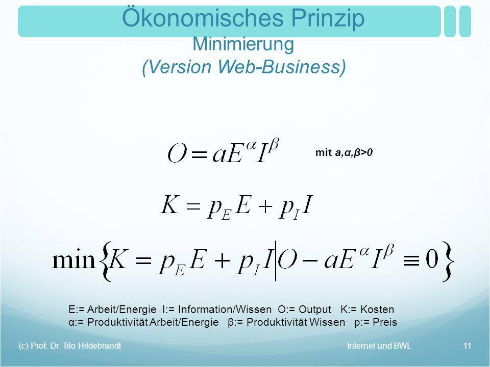 Ökonomisches Prinzip Minimierung (Version Web-Business)