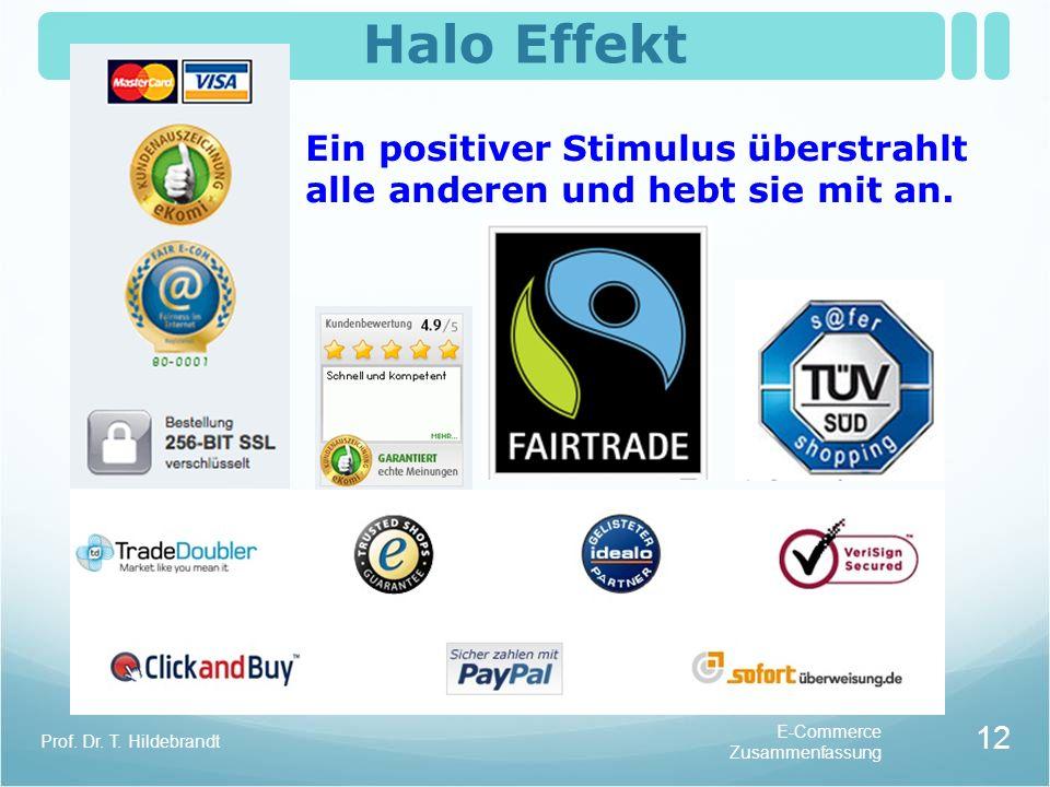 Halo Effekt Ein positiver Stimulus überstrahlt alle anderen und hebt sie mit an. Prof. Dr. T. Hildebrandt.