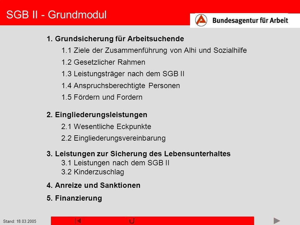 SGB II - Grundmodul 1. Grundsicherung für Arbeitsuchende
