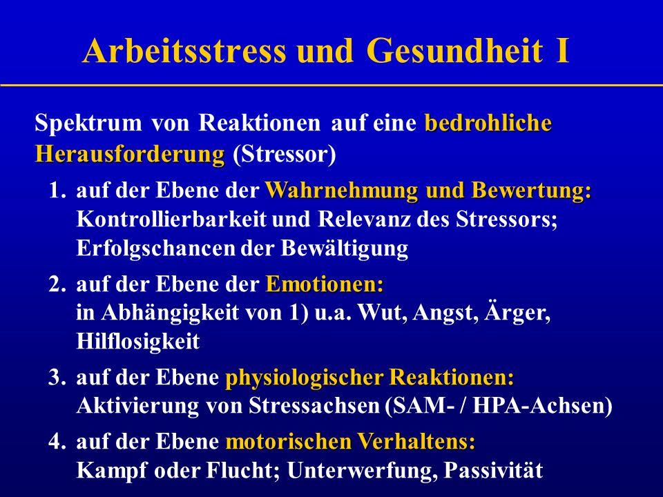 Arbeitsstress und Gesundheit I
