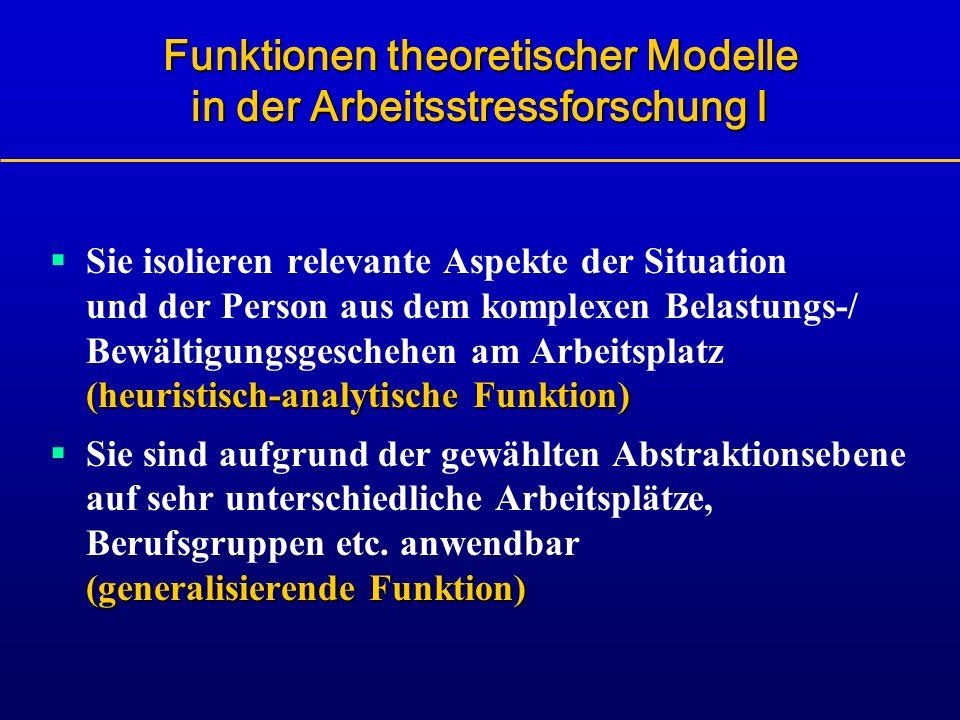 Funktionen theoretischer Modelle in der Arbeitsstressforschung I