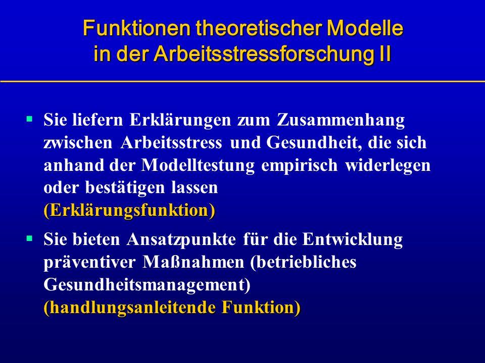 Funktionen theoretischer Modelle in der Arbeitsstressforschung II