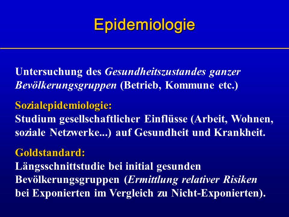 EpidemiologieUntersuchung des Gesundheitszustandes ganzer Bevölkerungsgruppen (Betrieb, Kommune etc.)
