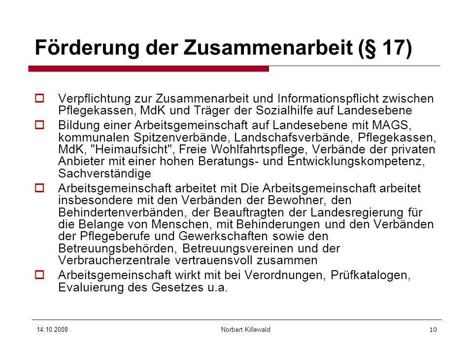 Förderung der Zusammenarbeit (§ 17)