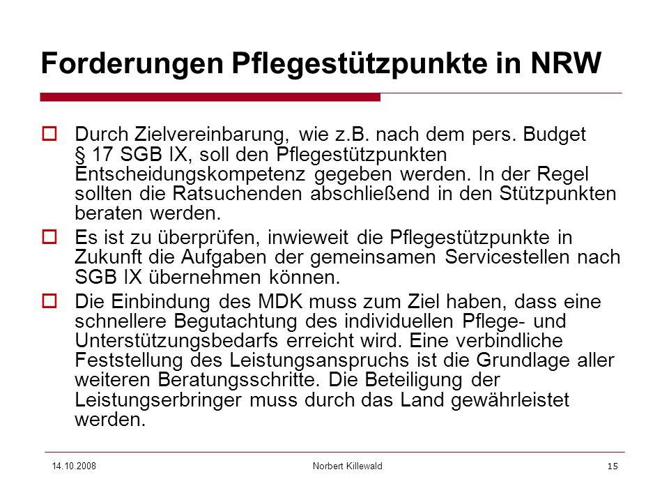 Forderungen Pflegestützpunkte in NRW
