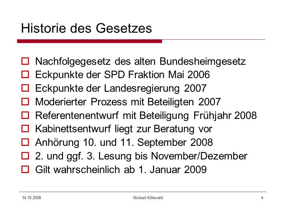 Historie des Gesetzes Nachfolgegesetz des alten Bundesheimgesetz
