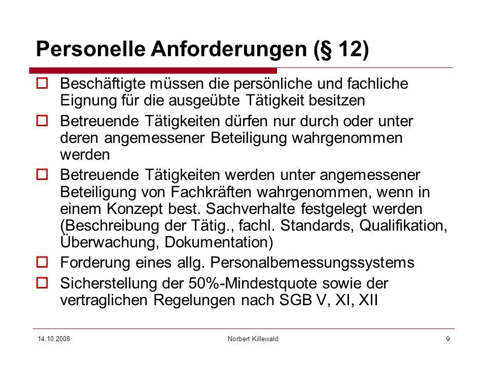 Personelle Anforderungen (§ 12)