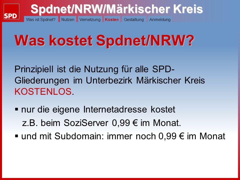 Kosten Was kostet Spdnet/NRW Prinzipiell ist die Nutzung für alle SPD-Gliederungen im Unterbezirk Märkischer Kreis KOSTENLOS.