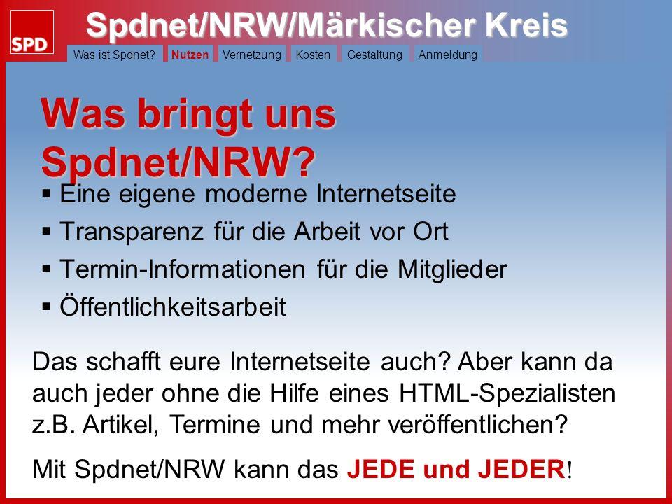 Was bringt uns Spdnet/NRW