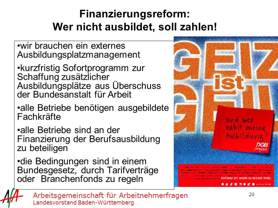 Finanzierungsreform: Wer nicht ausbildet, soll zahlen!