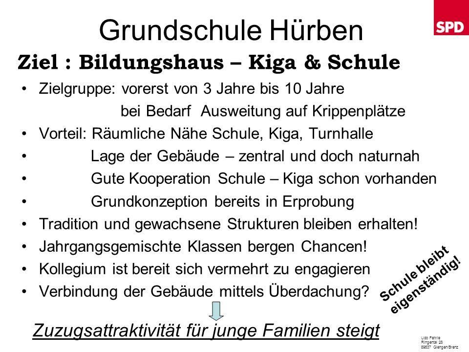 Grundschule Hürben Ziel : Bildungshaus – Kiga & Schule