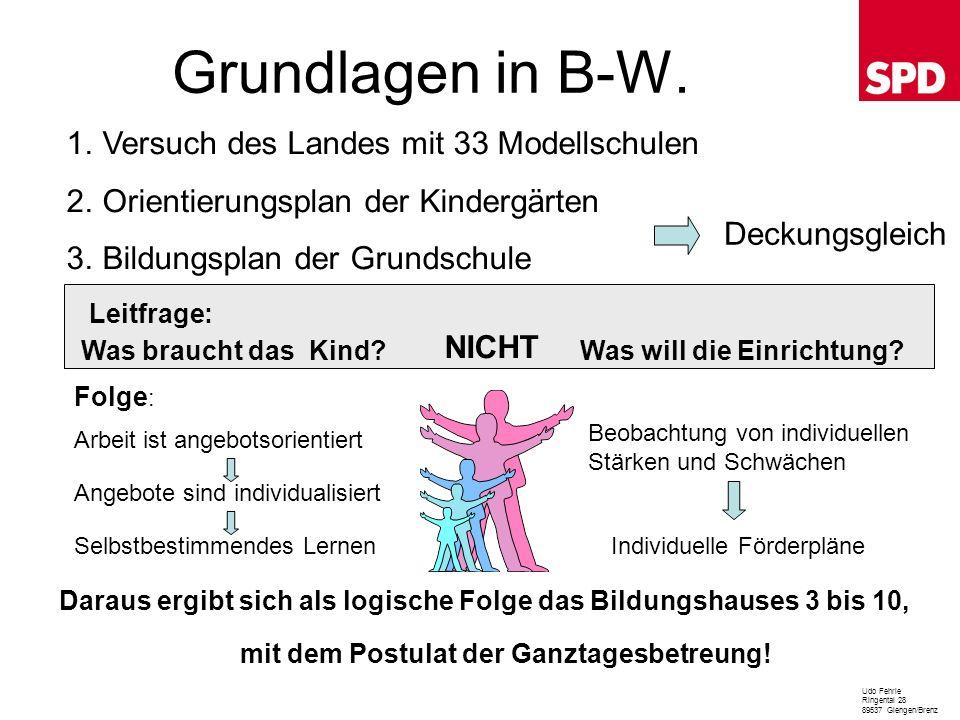 Grundlagen in B-W. Versuch des Landes mit 33 Modellschulen
