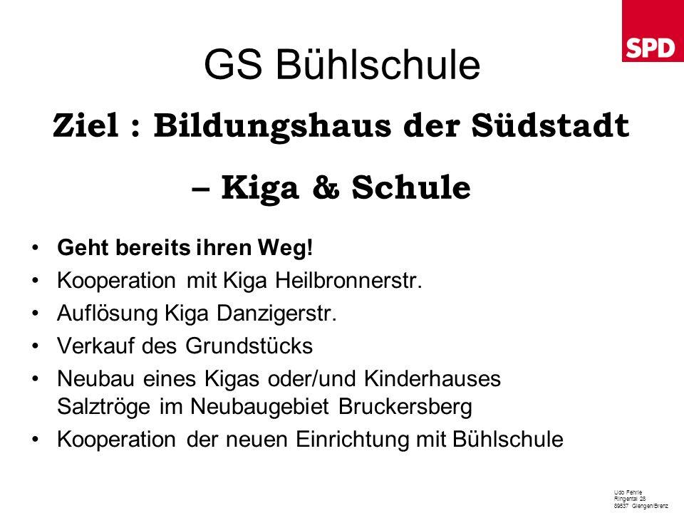 GS Bühlschule Ziel : Bildungshaus der Südstadt – Kiga & Schule