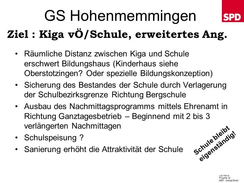 GS Hohenmemmingen Ziel : Kiga vÖ/Schule, erweitertes Ang.