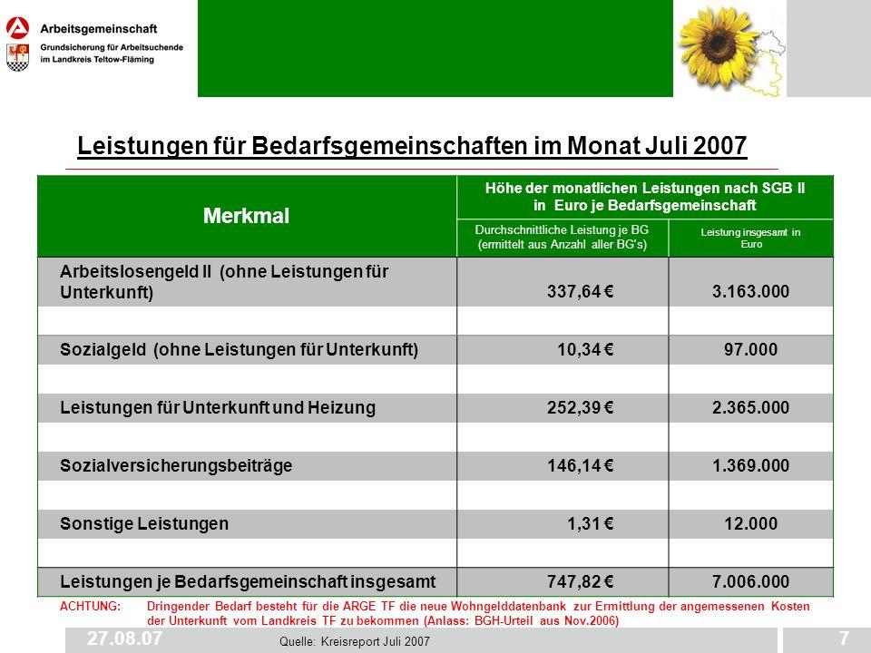 Leistungen für Bedarfsgemeinschaften im Monat Juli 2007