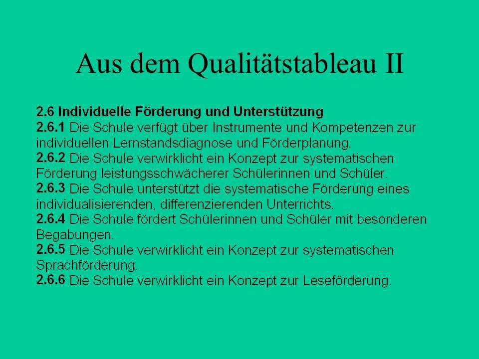 Aus dem Qualitätstableau II