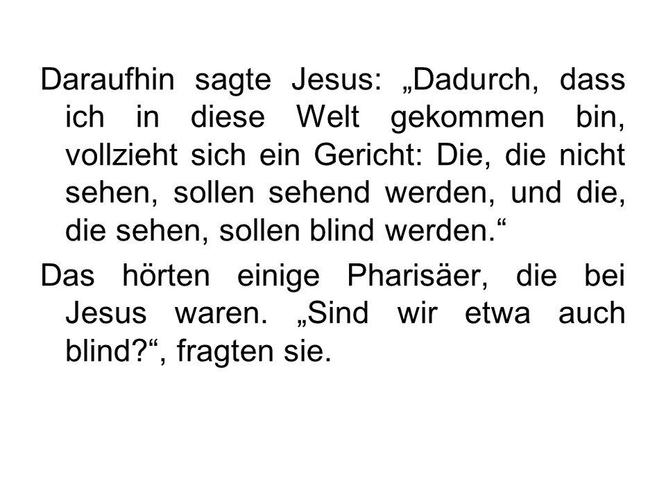 """Daraufhin sagte Jesus: """"Dadurch, dass ich in diese Welt gekommen bin, vollzieht sich ein Gericht: Die, die nicht sehen, sollen sehend werden, und die, die sehen, sollen blind werden."""