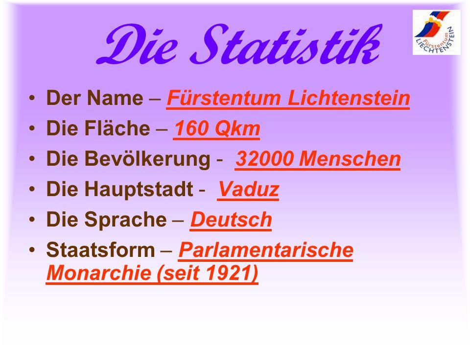 Die Statistik Der Name – Fürstentum Lichtenstein Die Fläche – 160 Qkm