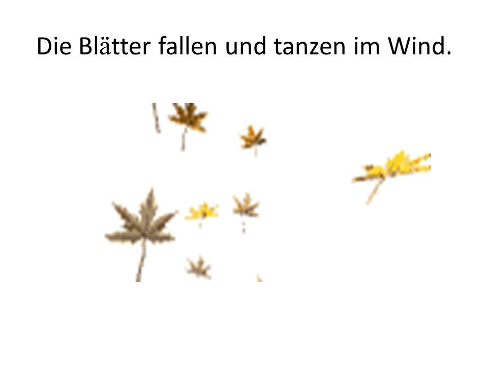 Die Blätter fallen und tanzen im Wind.