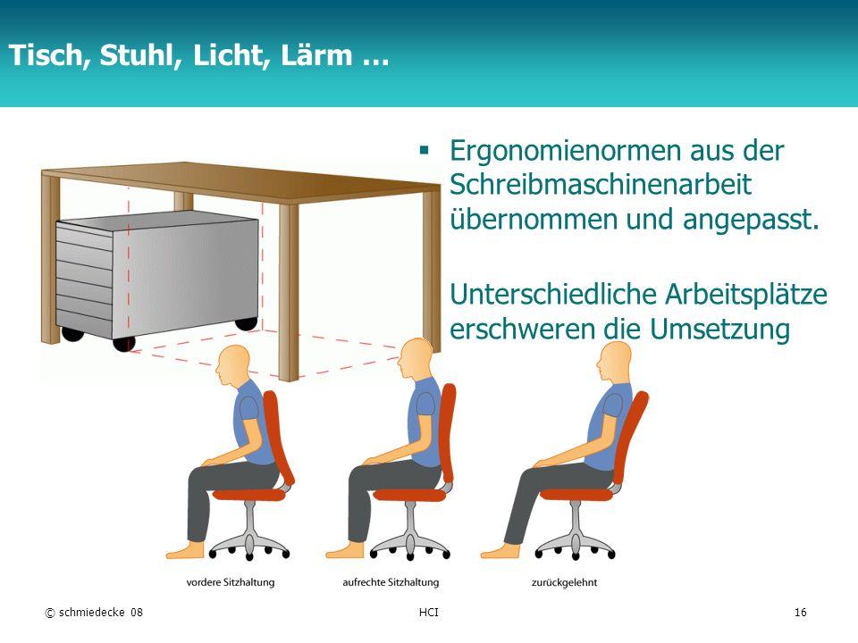 Tisch, Stuhl, Licht, Lärm …