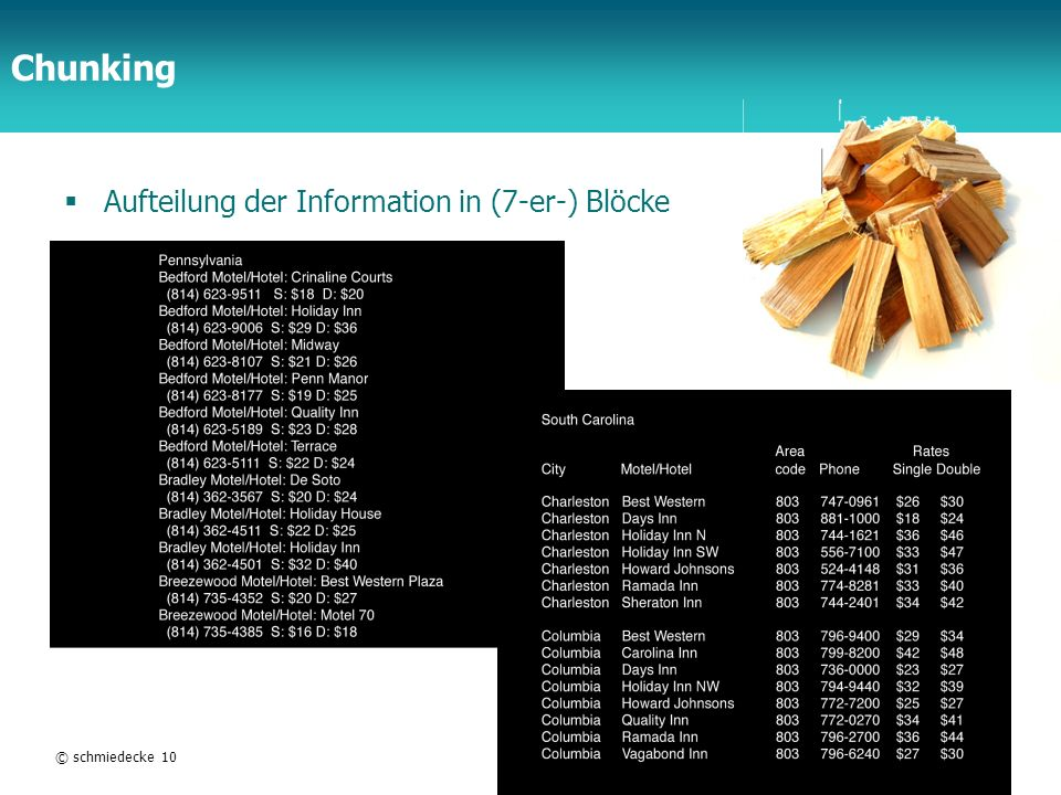Chunking Aufteilung der Information in (7-er-) Blöcke © schmiedecke 10