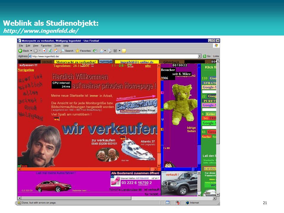 Weblink als Studienobjekt: http://www.ingenfeld.de/