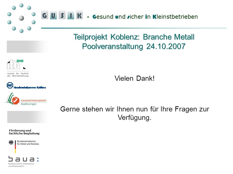 Teilprojekt Koblenz: Branche Metall Poolveranstaltung 24.10.2007