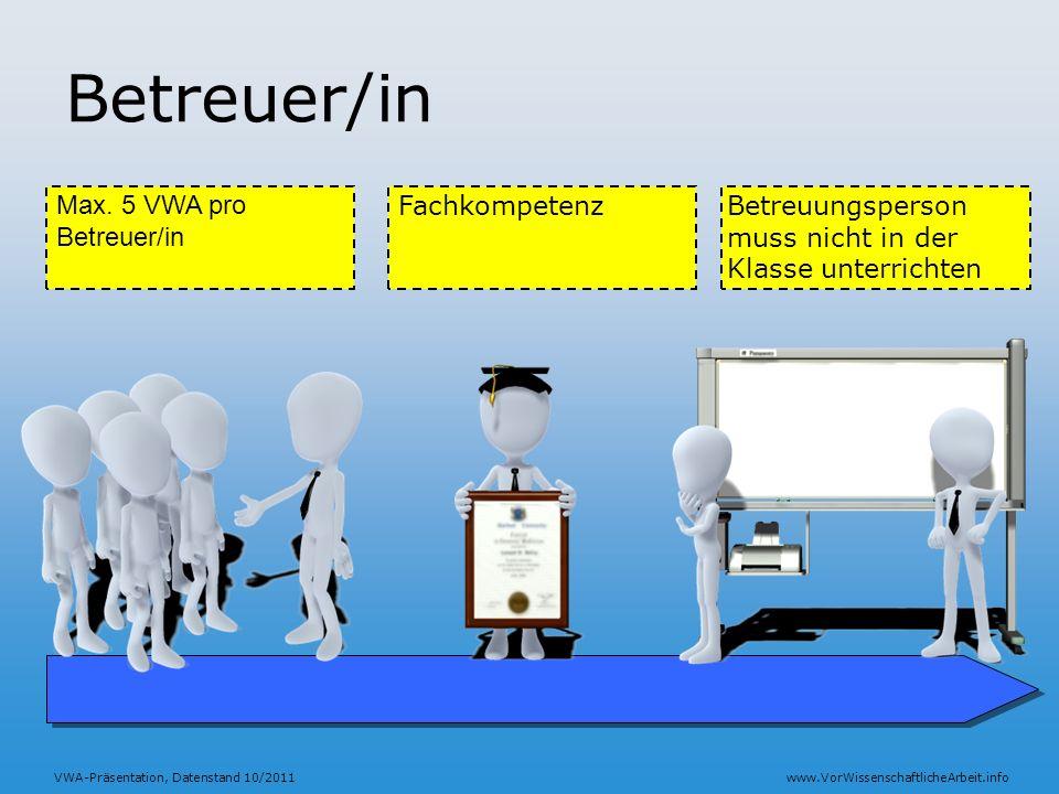 Betreuer/in Max. 5 VWA pro Betreuer/in Fachkompetenz