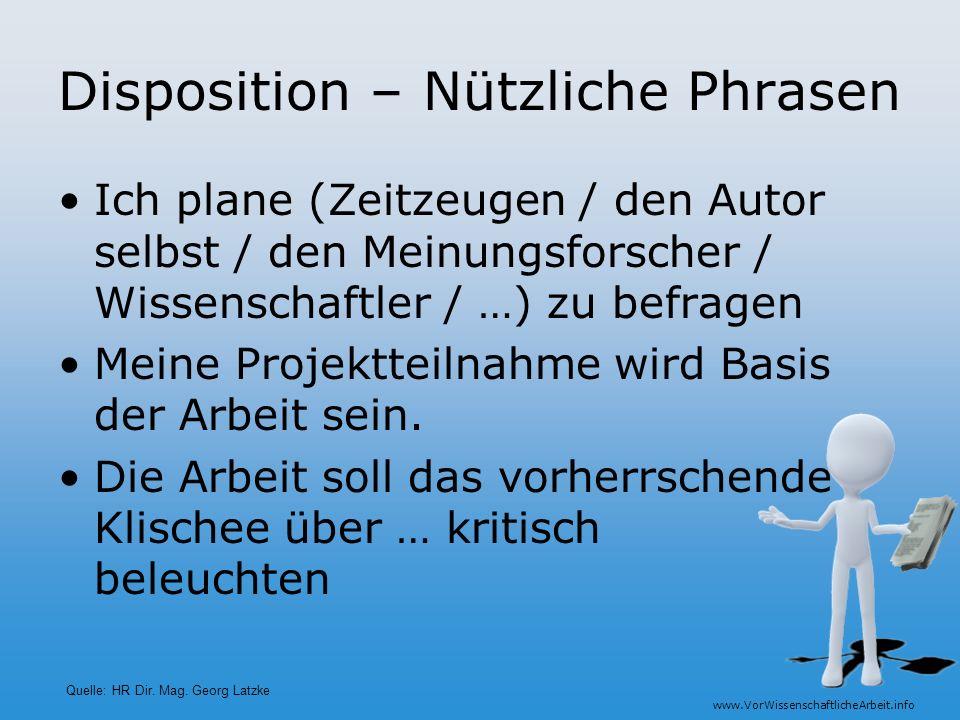 Disposition – Nützliche Phrasen